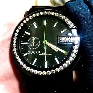 "GUCCI 101m Chronos blk stnls 1.84 ct studded ""G"""